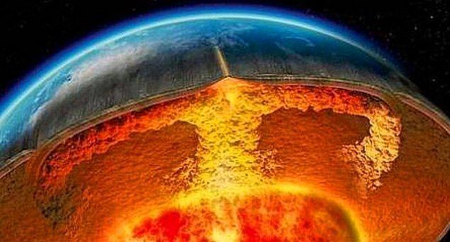 14. Dünyanın merkezi katıdır ve sıcak değildir.
