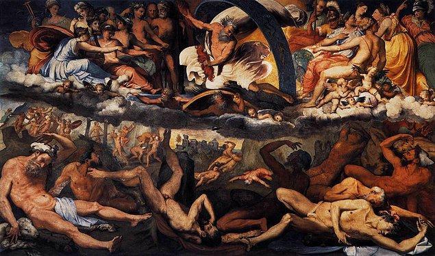 2. Atlas, erkek kardeşi Menoitios (Menoetius) ile birlikte, Titanların Olymposlu tanrılara karşı açtığı büyük savaşa (Titanomakhia) katılmış, hatta bazı kaynaklara göre bu savaşta Titanlara önderlik etmiştir.