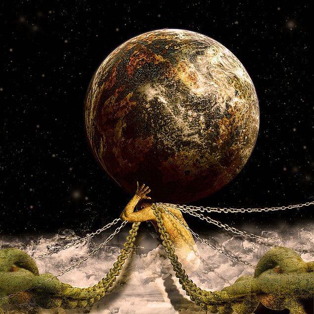 """15. Atlas'ın yükü ve sonsuza kadar sürecek cezası ile insanoğlunun taşıdığı yük olan """"kendi benliği"""" bağdaştırılmaktadır."""