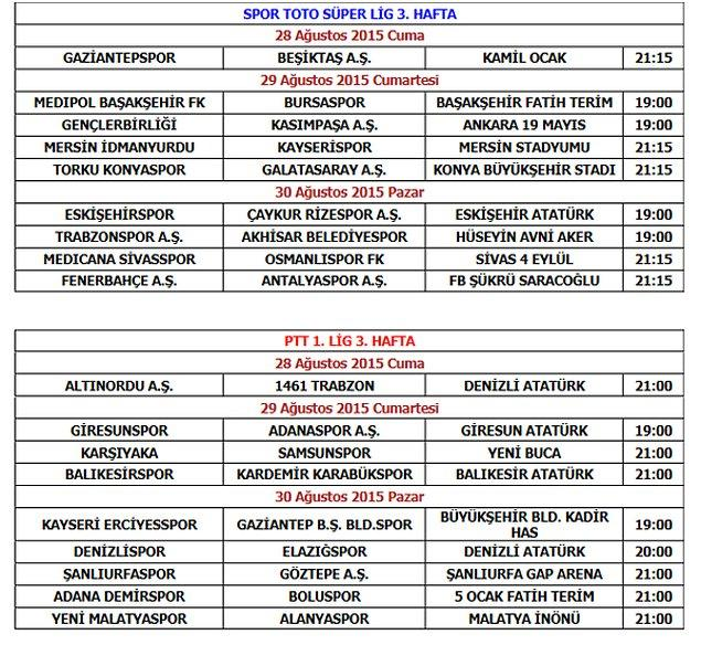 Karşılaşma başlama saatleri öne alınan Spor Toto Süper Lig ve PTT 1. Lig 3. hafta programları şöyle;