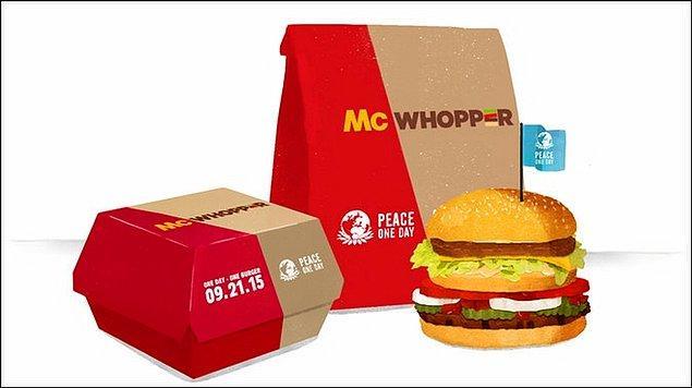 Dünyanın en büyük markalarından biri olan Burger King, Dünya Barış Günü'ne dikkat çekmek amacıyla kurulan ve kar amacı gütmeyen Peace One Day'e yardım için inanılmaz bir adım attı.
