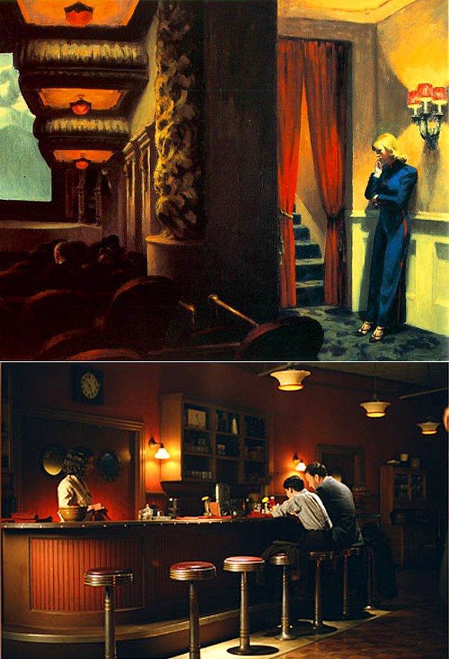 4. Sam Mendes'in yönetmenliğini yaptığı Azap yolu ve Edward Hopper'ın New York Movie adlı eserinden
