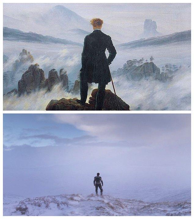 6. Jonathan Glazer'in 2013'te görücüye çıkan Under The Skin adlı filmi ve Casper David Friedrich'in  Wanderer Above The Sea Of Fog adlı eserinden