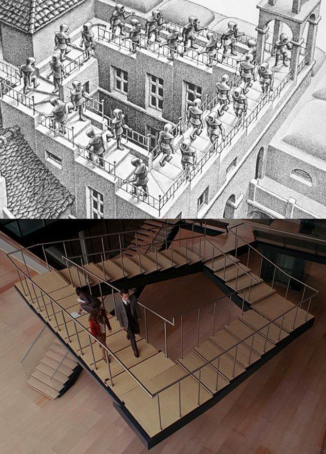 10. Christopher Nolan'ın Inception'ı ve yine Escher'in Ascending and Descending adlı eserinden