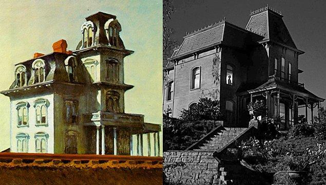 11. Alfred Hitchcock'un Sapık adlı filmi ve Edward Hopper'ın  House By The Rail Road adlı tablosundan