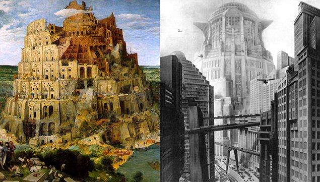 12. Fitz Lang'ın 1927 yapımı Metropolis filmi ve Pieter Bruegel'in The Tower Of Babel adlı tablosundan