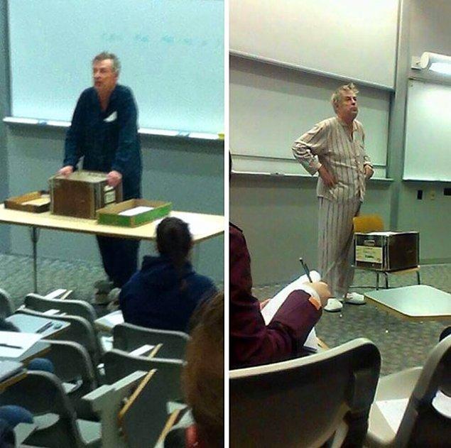 5. Finallerin sabah 7.30'da yapılmasını protesto etmek için sınava pijamalarıyla gelen bu öğretmenler.