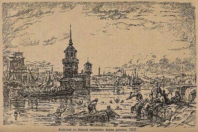 Sabiha Rüştü Bozcal'nın 1928 yılında resmettiği İstanbul Kız Kulesi ve Salacak sahilinden denize girenler.