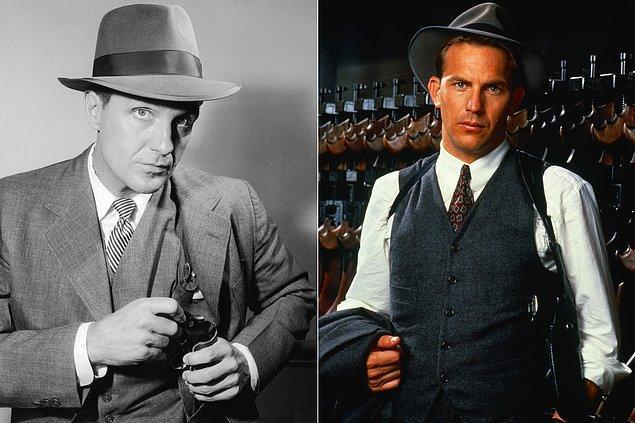 """13. O yıllarda devlet kadrolarında Al Capone'a karşı cesaret edip kimse soruşturma açamazken """"Dokunulmazlar"""" lakaplı bir ekibin başı olan Ajan Eliot Ness bu duruma son verdi."""