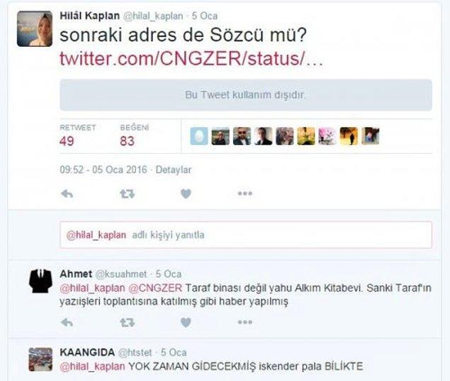 Hilal Kaplan bu ziyareti attığı bir tweetle eleştirmişti.