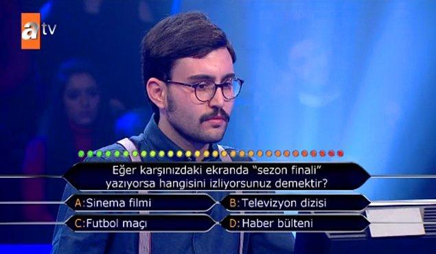 """21. Eğer karşınızdaki ekranda """"sezon finali"""" yazıyorsa hangisini izliyorsunuz demektir?"""