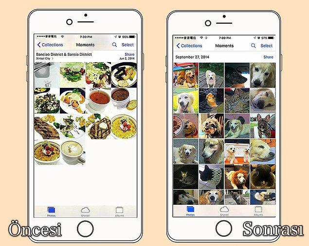 3. Telefonundaki manzara ve yemek fotoğraflarının yerine, onun en güzel hallerinden oluşan fotoğraflar doldurmaktır.