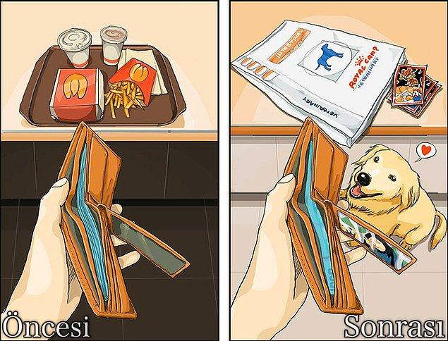 6. Dışarı çıkmadan önce kendin kahvaltı etmeye üşenmek, ama onun kahvaltısını asla ihmal etmemektir.