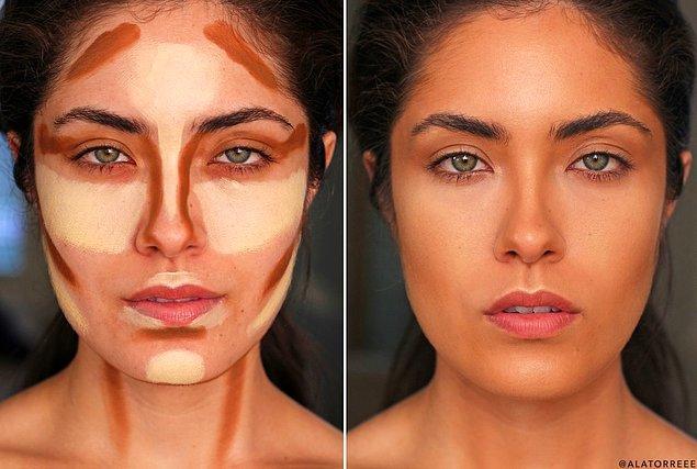 Yüz ve boynun iki ayrı dünyadan durmaması için yüze kontür uygulandığında hafifçe boyuna da uygulanmasında bir sakınca yok.