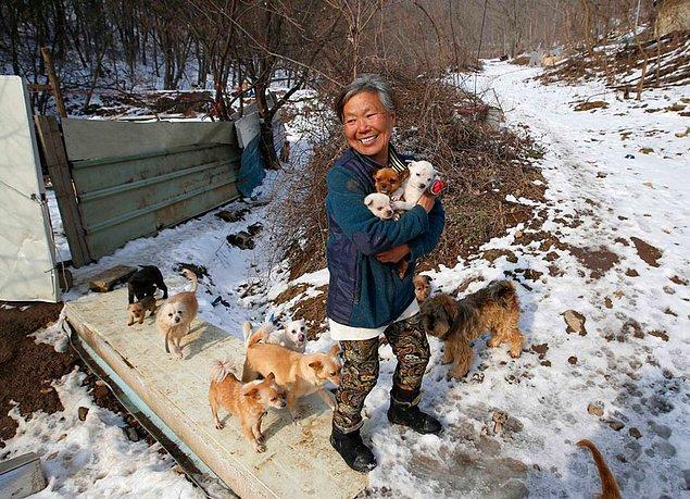 Bu gördüğünüz güler yüzlü kadın Jung Myoung Sook. Kendisi 61 yaşında olan bir Güney Koreli.