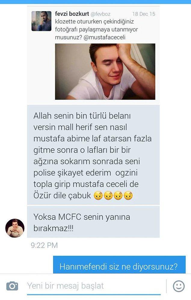 Bunu gören sıkı bir Mustafa Ceceli hayranı olan Cecelist Damla Fevzi'ye mesaj attı.