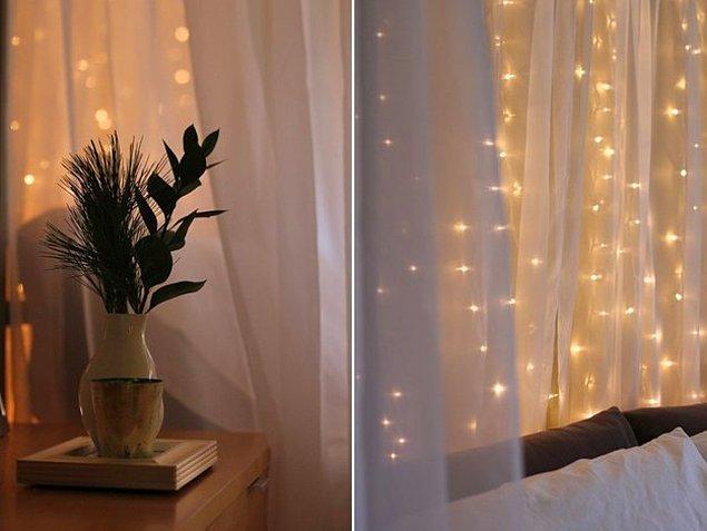 9. Özel günlerde süs olarak kullandığınız ışıkları çıkarıp tüm yıl kullanın