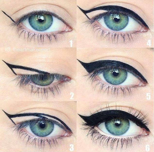 1. Altı adımda kusursuz bir eyeliner uygulaması.