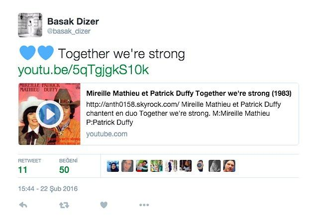 """Başak Dizer ise Twitter hesabından, """"Together We're Strong"""" (Biz birlikte güçlüyüz) parçasını paylaştı."""
