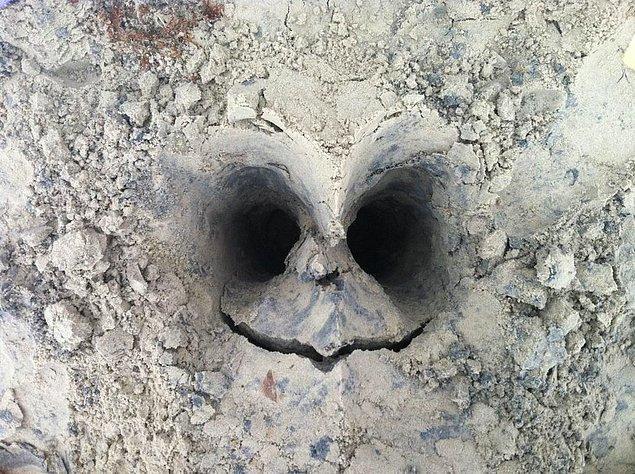 21. Toprağa gömülen bir kafatası