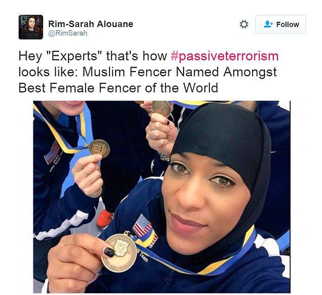 """""""Uzmanlar (!), pasif terörizm işte böyle görünüyor. Müslüman eskrim sporcusu dünyanın en iyileri arasında yer alıyor."""""""