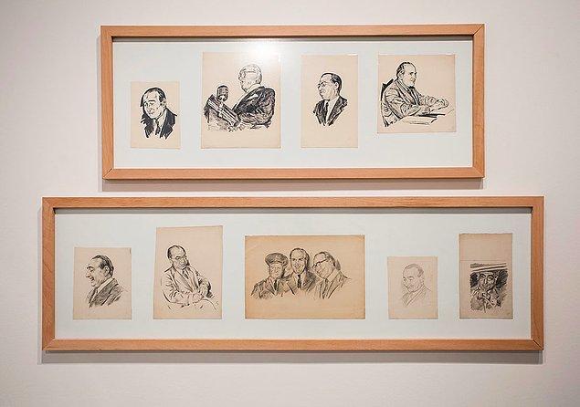 Yassıada duruşmaları Sabiha Rüştü Bozcalı çizimiyle