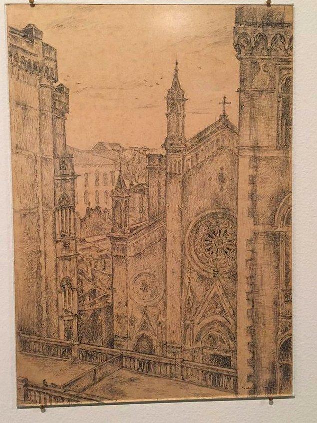 Kendini resmettiği bir çalışması ve oldukça zor bir perspektifle neredeyse hatasız çizdiği St. Antuan Katolik Kilisesi.