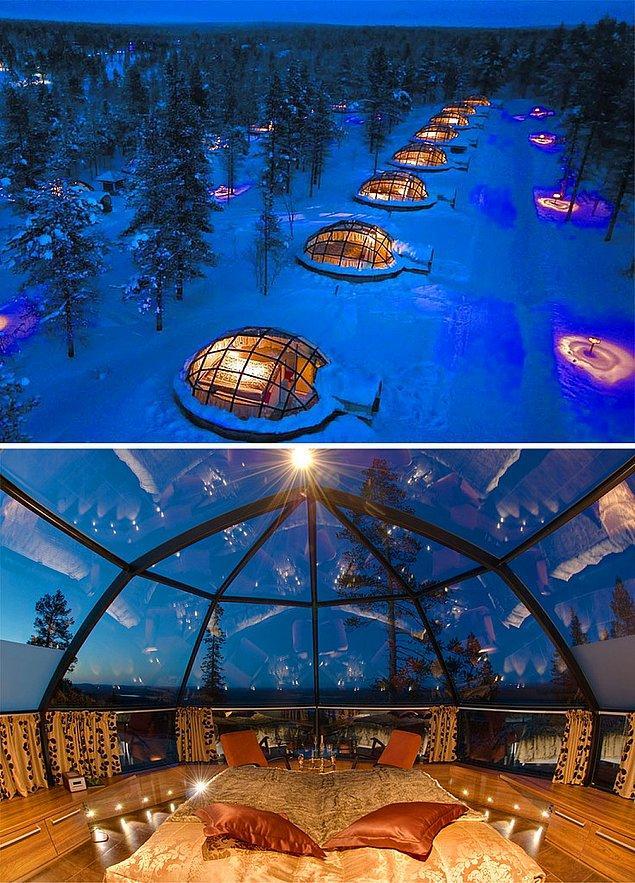 50. Finlandiya'da camdan yapılmış iglolarda konaklayın.
