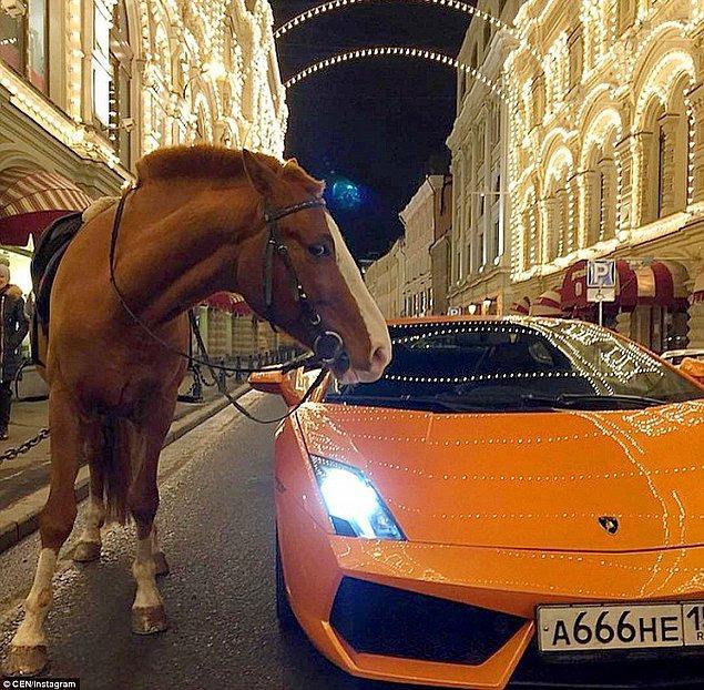 Rusya sokaklarında bir yerde, etkileyici görünüşe sahip bir Lamborghini ve hemen yanındaki at, gerçekten de garip bir kare oluşturuyor.