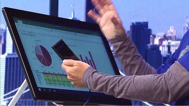 9. Windows Continuum ile de Windows 10 Mobile cihazımızı sanki PC'ymiş gibi kullanabiliyoruz.