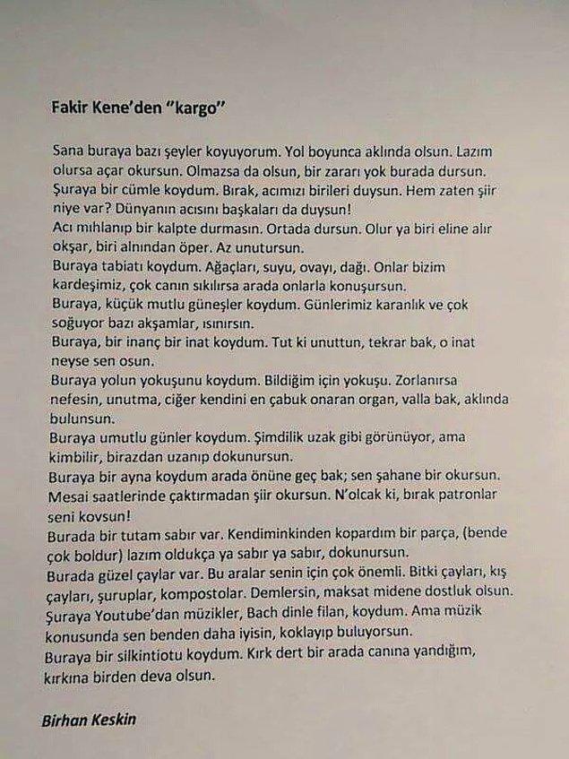 """Kitabın başlangıç şiiri olan """"Kargo""""dan şu alıntı, şairden okuruna bir """"teselli"""", bir """"şifa"""" niyetine..."""