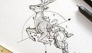 Yabani Hayvanların Geometrik Şekillerle Harmanlandığı Muhteşem Çizim Galerisi