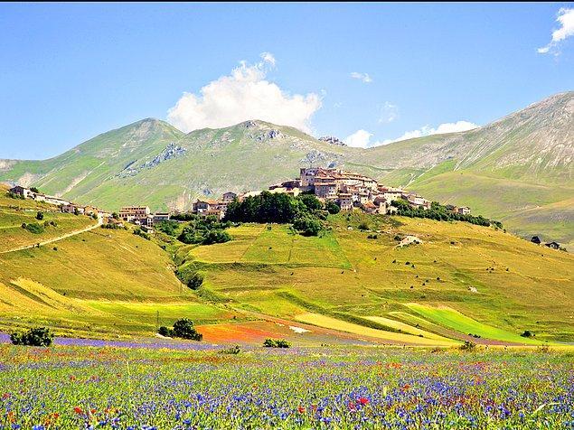 Кастеллуччо ди Норча недалеко от Умбрии, Италия - еще одно живописное место, где можно наблюдать цветение с  мая по июль.