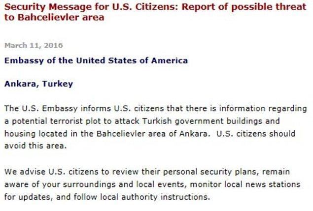 1. Hatırlayacağınız gibi Ankara saldırısından önce ABD kendi vatandaşlarını uyarmıştı.