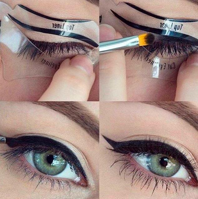 Ve kozmetik dünyası boynu bükük kadınlarımız için bir atılım daha yaptı: Eyeliner Şablonu!