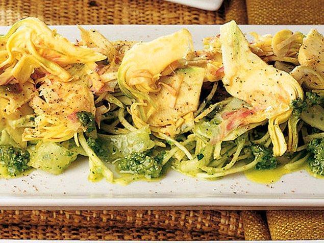 11. Yeşil Zeytin Pestolu Enginar Salatası