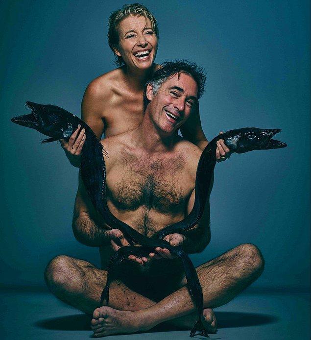 56 yaşındaki dünyaca ünlü oyuncu Emma Thompson, eşi Greg Wise da, poz veren ünlüler arasındaydı.