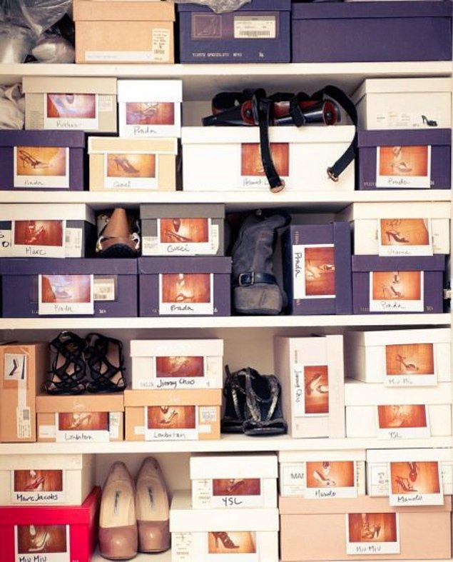 8. Ayakkabılarınızı kutularında saklayarak muhafaza ediyorsanız, kutuların üzerine yapıştıracağınız küçük görseller onlarca ayakkabı arasından aradığınızı bulmanız konusunda size yardımcı olacaktır.