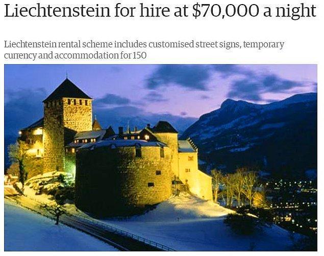14. Liechtenstein günlük 70.000 $ karşılığında kiralanabilir.