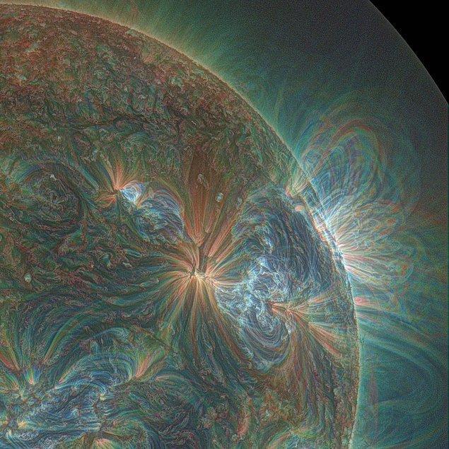 12. Güneşin UV filtre uygulanarak çekilmiş fotoğrafı.
