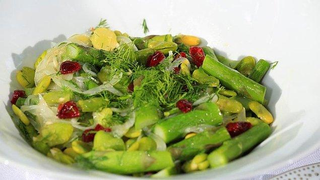 10. Zeytinyağlı Kuşkonmaz ve Bakla Salatası