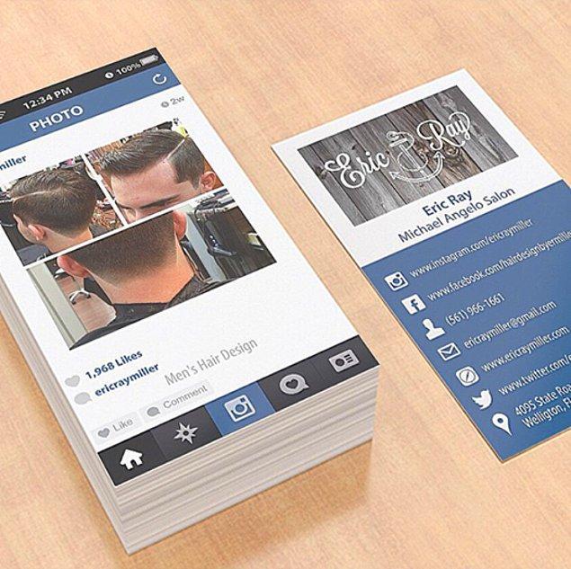9. Bir kuaför salonuna ait bu kartlar, Instagram'dan esinlenilerek tasarlanmış.