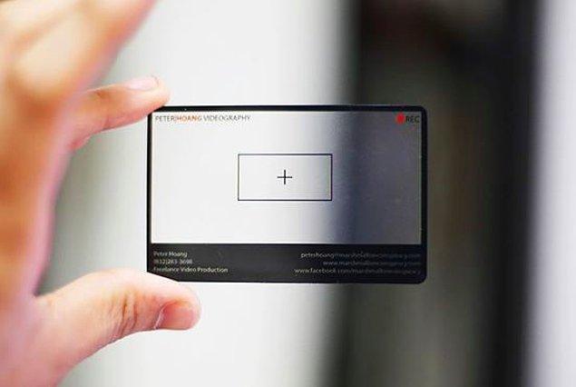 11. Bir videografi firmasına ait bu kart oldukça etkileyici bir tasarıma sahip.
