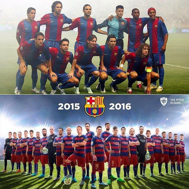 16. Barcelona demişken... 2006'daki efsane kadrosunu unutmak mümkün değil. Ronaldinho, Eto'o, Xavi, Puyol, Deco ve Messi'nin ilk zamanları.