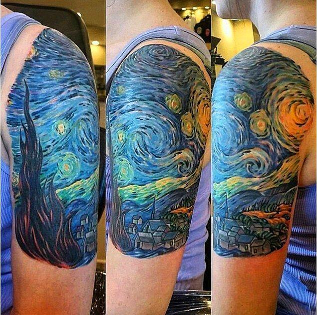 19. Vücut boyasıyla kola aktarılan bu Van Gogh eseri.