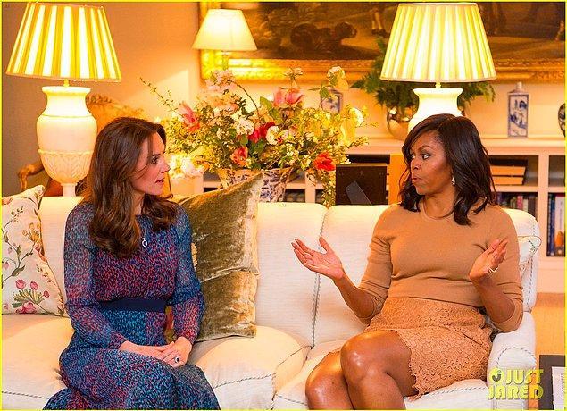 Kate Middleton ve Michelle Obama da, bu görüşme sayesinde yakınlaşma fırsatı buldu.
