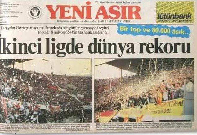Hınca hınç dolan stadyumda hem Türkiye liglerinin seyirci rekoru hem de dünya ikinci ligi seyirci rekoru kırılmıştı.