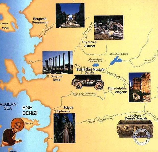 Yedi Kilise, Roma İmparatorluğu döneminde kurulmuştur, her bir kilise kurulduğu yerin Roma dönemindeki adıyla anılır: