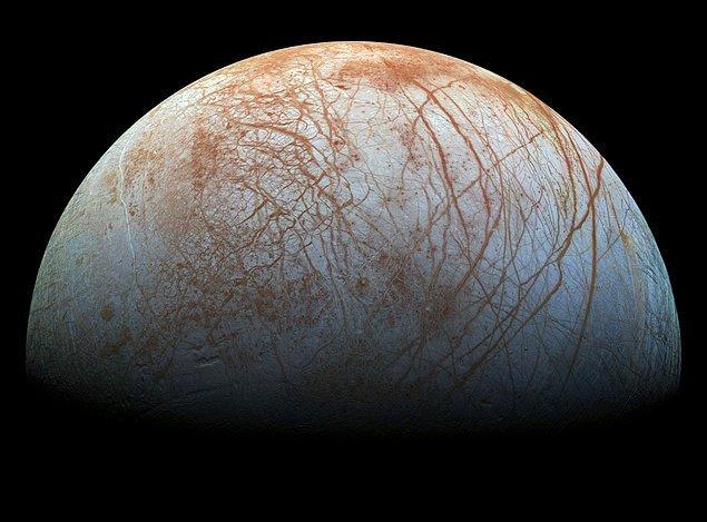 23. Jüpiter'in uydusu Europa'nın yüzeyinin altında sudan oluşan okyanusların var olabileceği düşünüldüğünden, yaşama dair kanıtların araştırılmasının planlandığı bir yerdir.