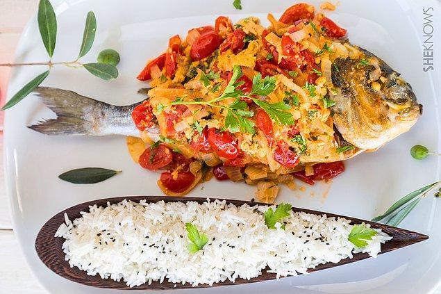 8. Balık+Çeri Domates+Soğan+Pırasa+Krema